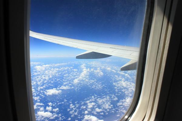Vista desde el avión, llegando a Auckland