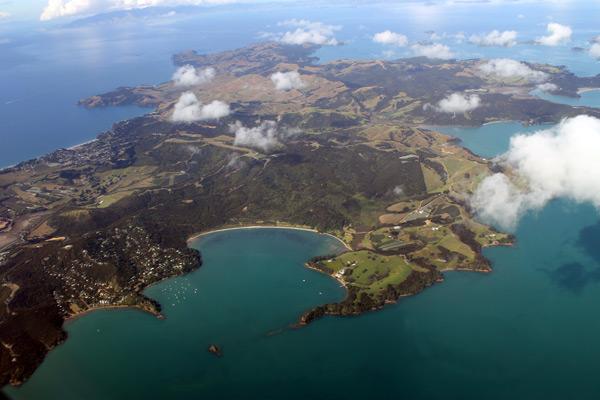 Vista desde el avión, llegando a Nueva Zelanda