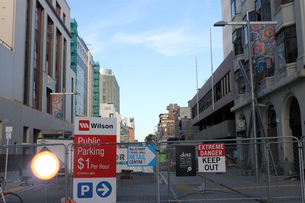 Calle del centro de Christchurch cerrada tras el terremoto