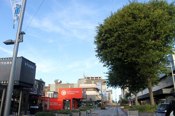 Tiendas en barracones en el centro de Christchurch