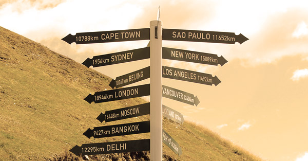 Distances to some main cities In the other side of the world